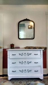 Dresser courtesy of Curious Goods, New Hope .  Mirror I got from the Golden Nugget flea market in Lambertville NJ a few years back.
