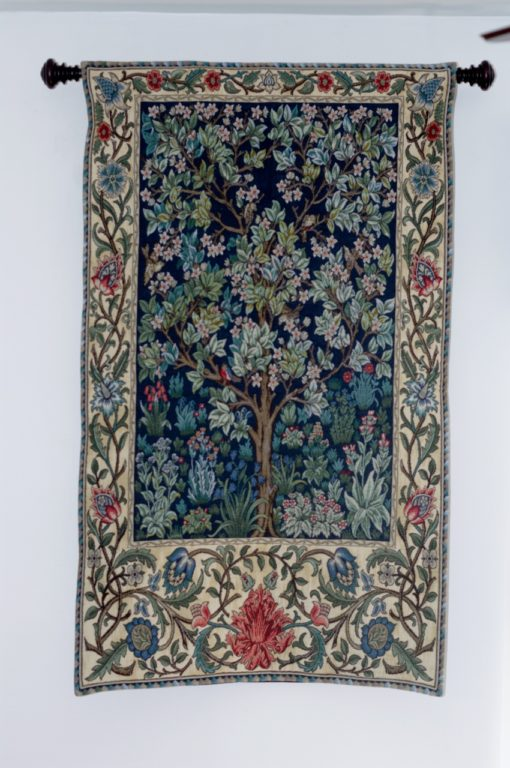 "This William Morris ""Tree of Life"" tapestry I found on eBay after the fact.  The color coordination with the rest of the room is nothing short of amazing!"